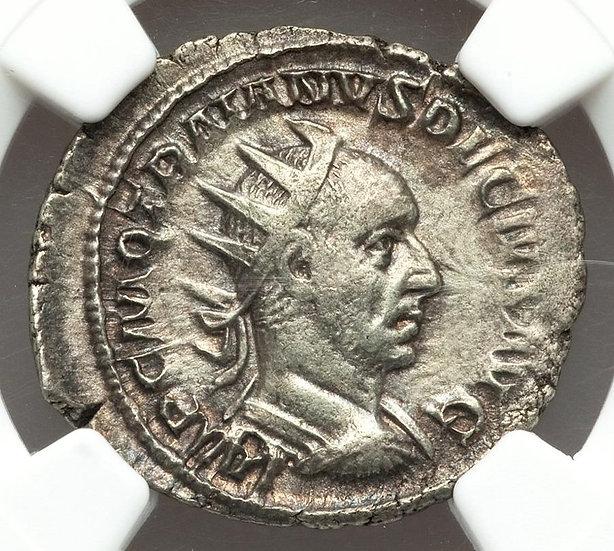 Moeda Romana Antoniniano de Trajan Decius  (249-251 dC) certificada NGC