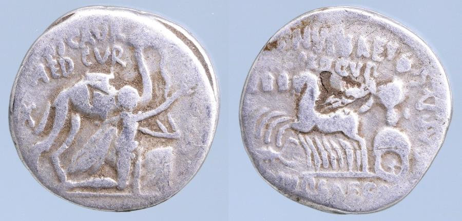 Moeda Romana: Roman Republic M. Aemilius Scaurus and P. Plautius Hypsaeus, money