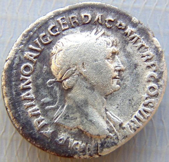 Moeda Romana Denário De Prata Trajano 98-117dC