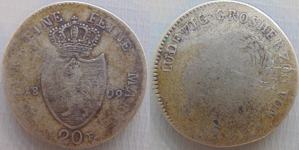 Grande moeda de prata dos Estados Alemães. Ano 1809