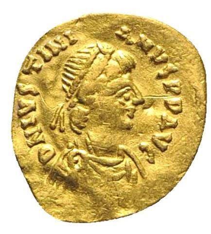 Moeda Bizantina Justinian I (527-565). AV Tremissis