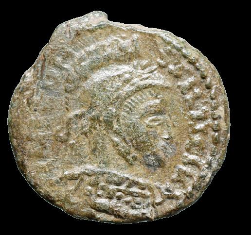 Moeda romana rara cunhagem étnica (bárbara), imitando Constantino I (IV a V dC)