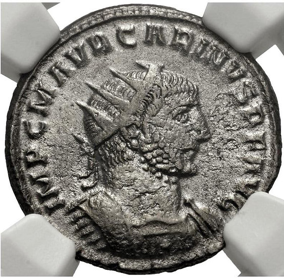 Moeda Romana Escassa Antoniniano de Carinus (283-285 dC). Encapsulada NGC