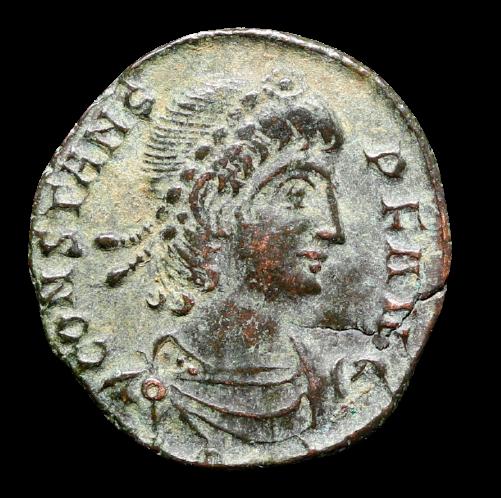 Moeda Romana Escassa Ae Nummus de Constans (335-350 dC). CunhjagemTessalônica em