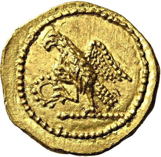 Moeda Grega Stater de Koson 40-29 aC (aliados de Brutus)