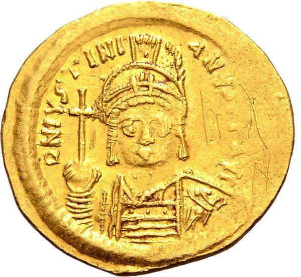 Moeda Bizantina Solidus de Justiniano. Constantinopla, 527-565dC.
