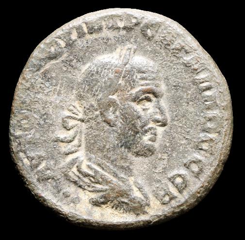 Moeda Romana Escassa (13 conhecidas) de Trebonianus Gallus (206-253 dC).
