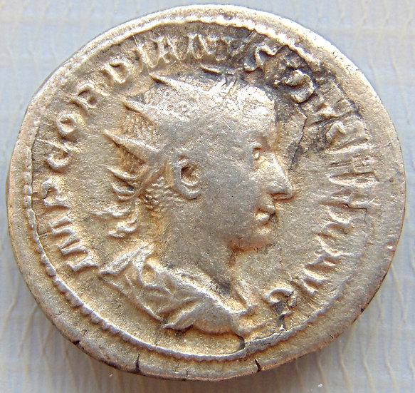 Moeda Romana Antoniniano de Gordian III 238-244 dC