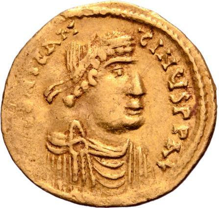 Moeda Bizantina Constans II AV Semissis. Constantinople, AD 641-666.