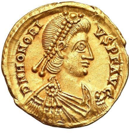 Moeda Romana Solidus de Honório 393-423 dC