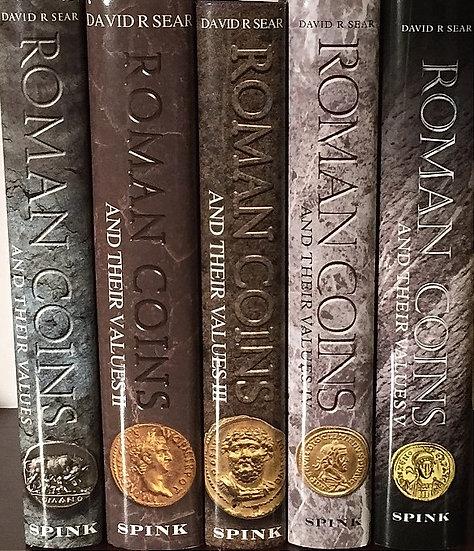 Moedas romanas e seus valores por David R. Sear Conjunto completo de 5 volumes