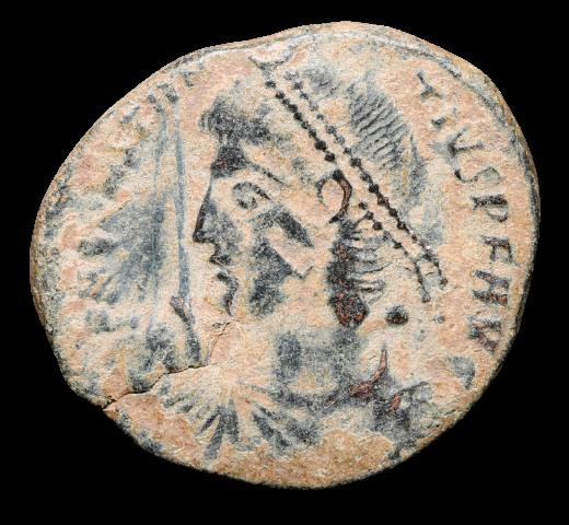 Moeda Romana Escassa de Constantius II (337-361 dC).