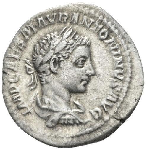 Moeda Denário de Elagabalus (218-222 dC).
