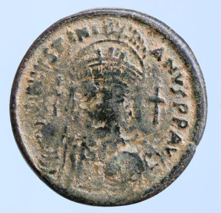 Moeda Bizantina Iustinianus AE Follis, Constantinopolis 527-565 AD