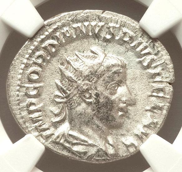 Moeda Romana Antoniniano de Gordiano III 238-244 CERTIFICADA NGC-XF