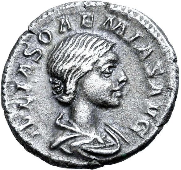 Moeda Escassa Denário de Julia Soemias (mãe de Elagábalus), Roma (218-222 dC).