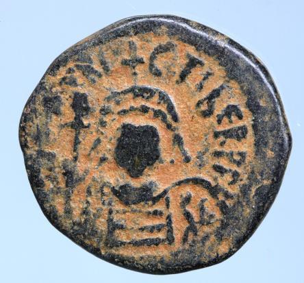 Moeda Bizantina Maurice Tiberius Æ 40 Nummi. Cyzicus Dated RY 7 (588/9). Crowned