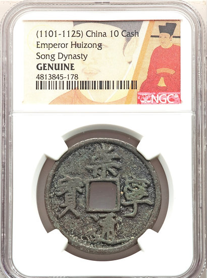 Moeda Chinesa 10 Cash do Imperador Hui Zong (960-1127) da Dinastia Sung do Norte