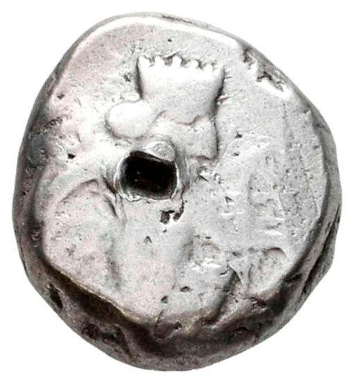 Moeda siglos de prata do Império Persa Aquemênida (tempo de Artaxerxes I a Xerxe