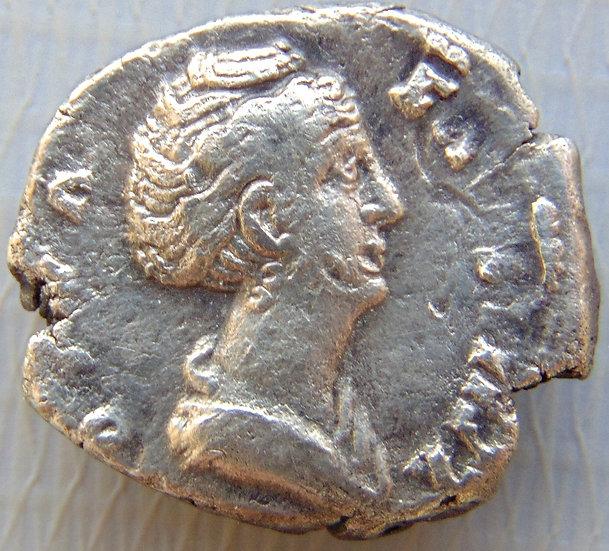 Moeda Romana Denário De Prata Faustina Senior 140-141dC