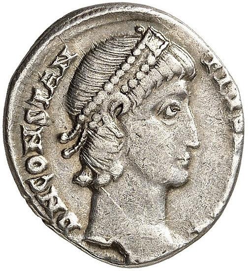 Moeda romana escassa Silíqua de prata de Constantius II 337-361 dC.