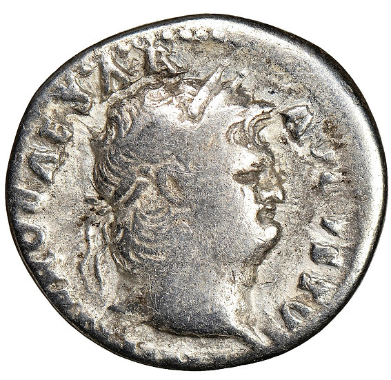 Moeda Romana Denário de Nero (54-68 dC). Certificada NGC