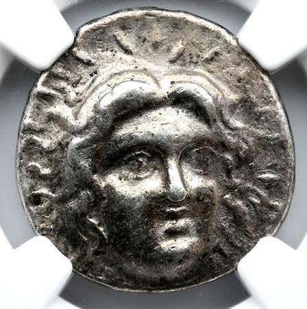 Moeda Grega Rara Tetradracma de Rhodes (229-205 aC). Certificada NGC.