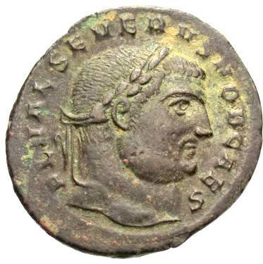 Moeda Romana Rara de Severus II como César 305-306 dC
