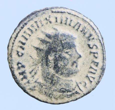 Moeda Romana Maximian Æ Post-Reform Radiate. Cyzicus, AD 295-299. IMP C M A MAXI