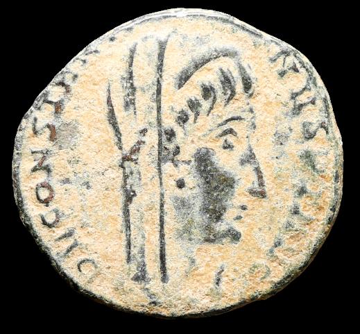 Moeda Romana Escassa Nummus de Constantino O Grande Divinizado com manu Dei (mão