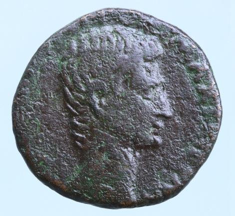 Moeda Romana Augustus. Ae As M. Salvius Otho moneyer Æ AS. 7 BC