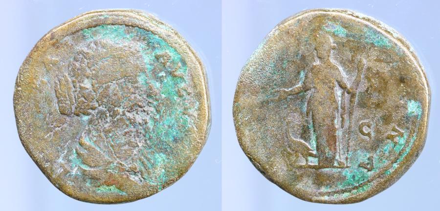 Moeda Romana:FAUSTINA Jr., wife of Marcus Aurelius. Augusta, 147-175 AD. Æ Seste