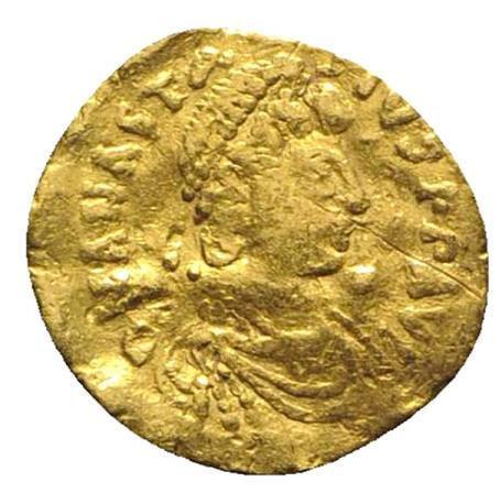 Moeda Bizantina Anastasius I (491-518). AV Tremissis (13mm, 1.15g, 6h).