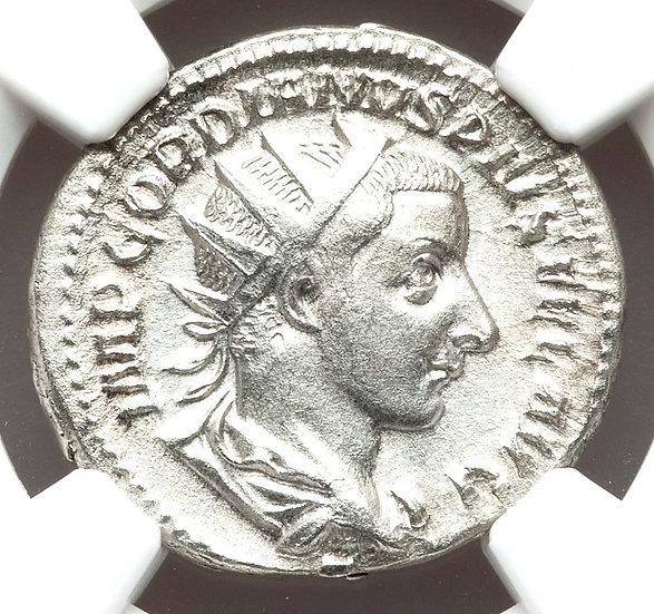 Moeda Romana Antoniniano de Gordiano III 238-244 CERTIFICADA NGC