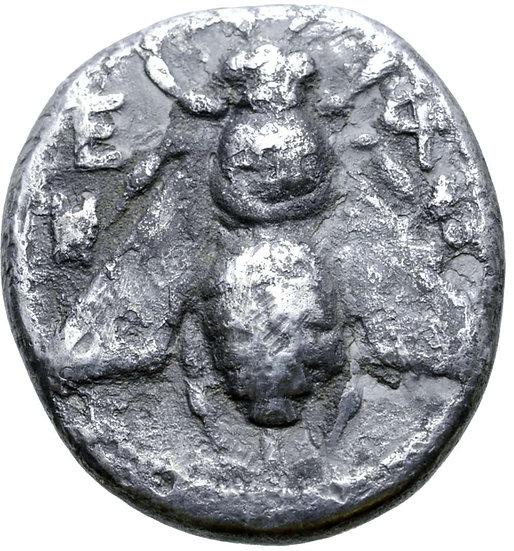 Moeda Grega da Ionia, Ephesos AR Dracma (350-340 aC), Kleonikos, magistrado.
