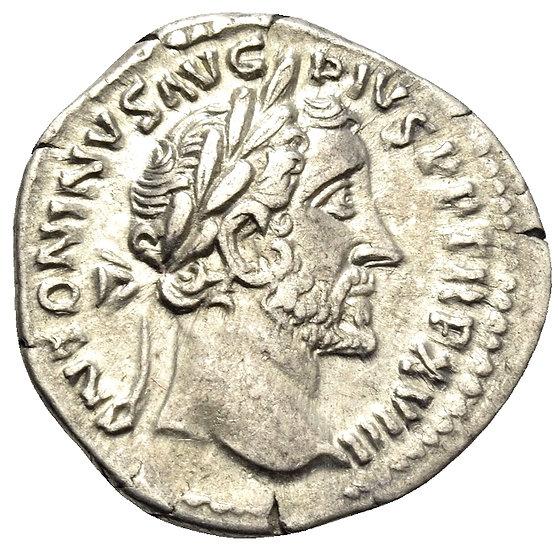 Moeda Romana Denário de Antoninus Pius, 138-161 dC.