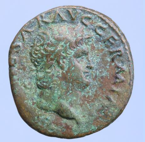 Moeda Romana Nero (54-68 AD). AE As. Lugdunum, AD 67.