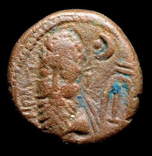 Moeda Romana Escassa Dracma AE de Elymais, Phraates (cerca de 200 dC)