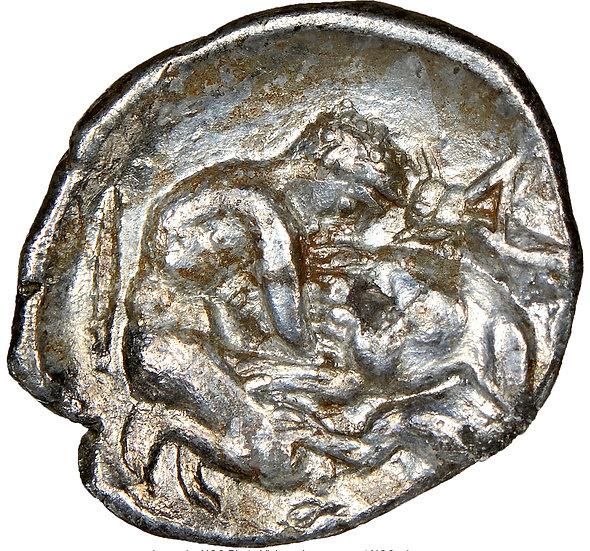 Moeda Grega da Calabria, Tarentum (380-280 aC) Herakles e Leão