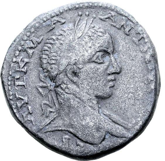 Moeda Romana Provincial de Elagabalus AR Tetradrachm de Antioquia 218-222