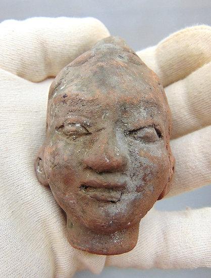 Raro artefato de terracota de Trowulan - Java Majapahit - Cabeça feminina - Séc.