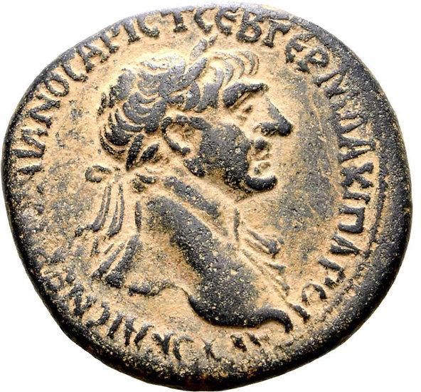 Moeda Romana de Trajano Æ28 de Hierapolis, Cyrrhestica. 98-117 dC