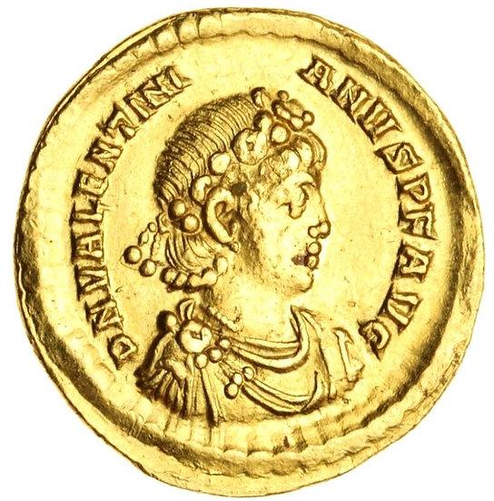 Moeda Romana Solidus de Valentiniano II (375-392).