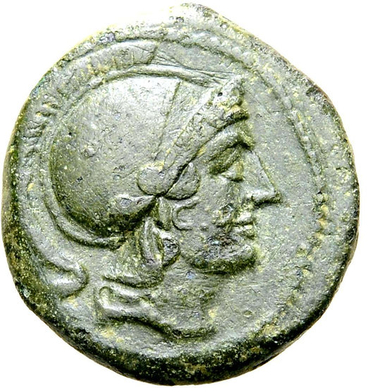 Moeda Romana Republicana Escassa Semilibral Æ Quartuncia (217-215 aC).
