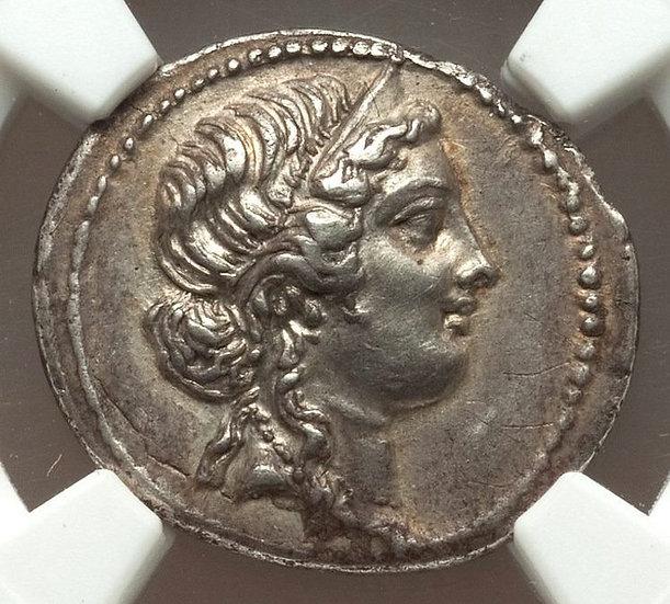 Moeda Romana Republicana de Júlio César, como ditador (49-44)  NGC + Pedigree