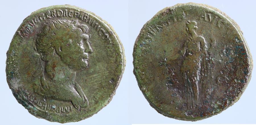 Moeda Romana: Traianus AE Sestertius, Providentia reverse