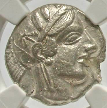Moeda Grega Tetradracna da Attica Atenas - 440-404 aC.