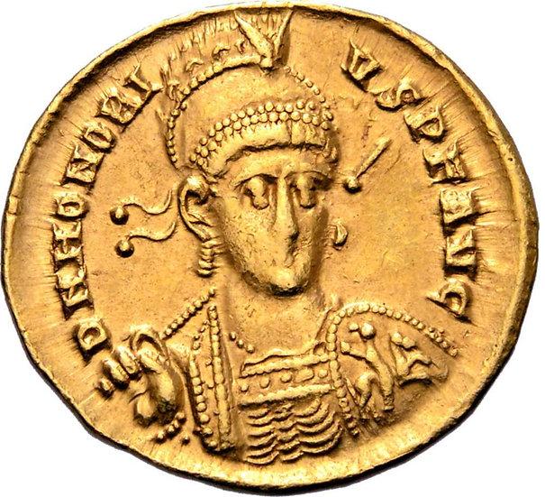 Moeda Romana Honorius AV Solidus. Constantinopla, 397-402 AD.
