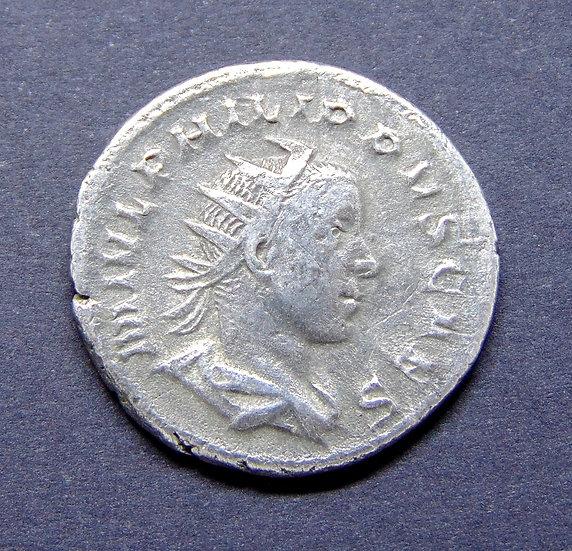 Moeda Romana Escassa de Felipe II (Marco Julio Severo Filipo)