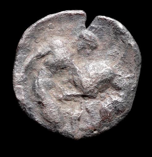 Herakles lutando com o Leão de Nemeia!  Moeda Grega Diobol da Calabria, Tarentum